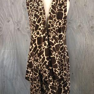 Alberto Makali giraffe print long drapey vest.